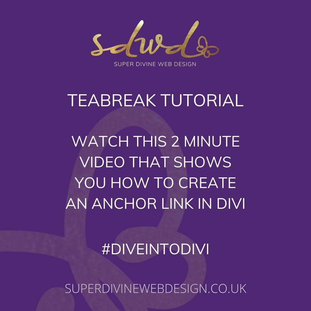 create an anchor link with divi theme sdwd